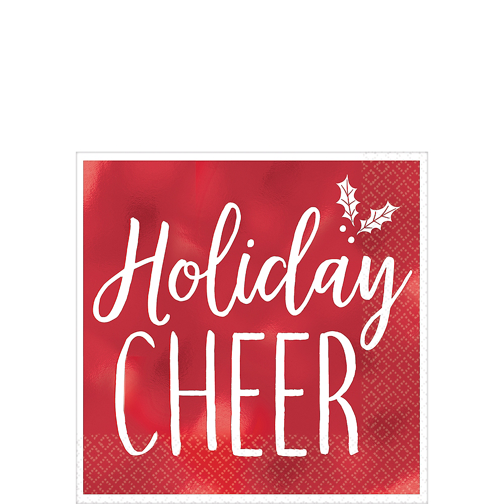 Metallic Red Holiday Cheer Beverage Napkins 16ct Image #1
