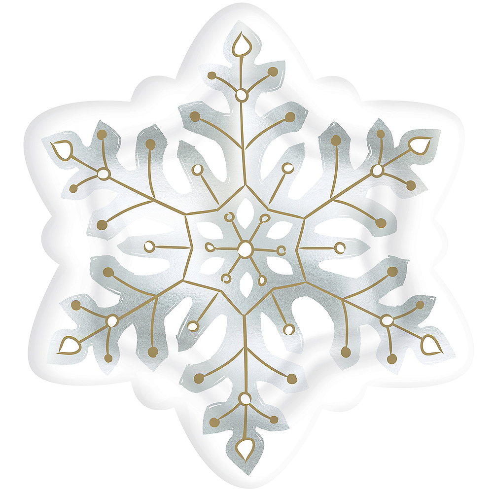 Shaped Snowflake Dinner Plates 8ct Image #1