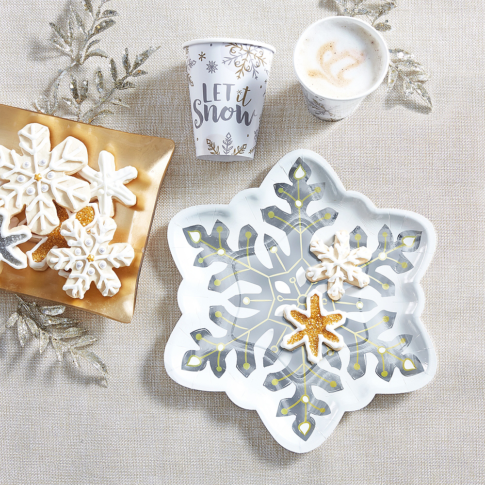 Shaped Snowflake Dinner Plates 8ct Image #2