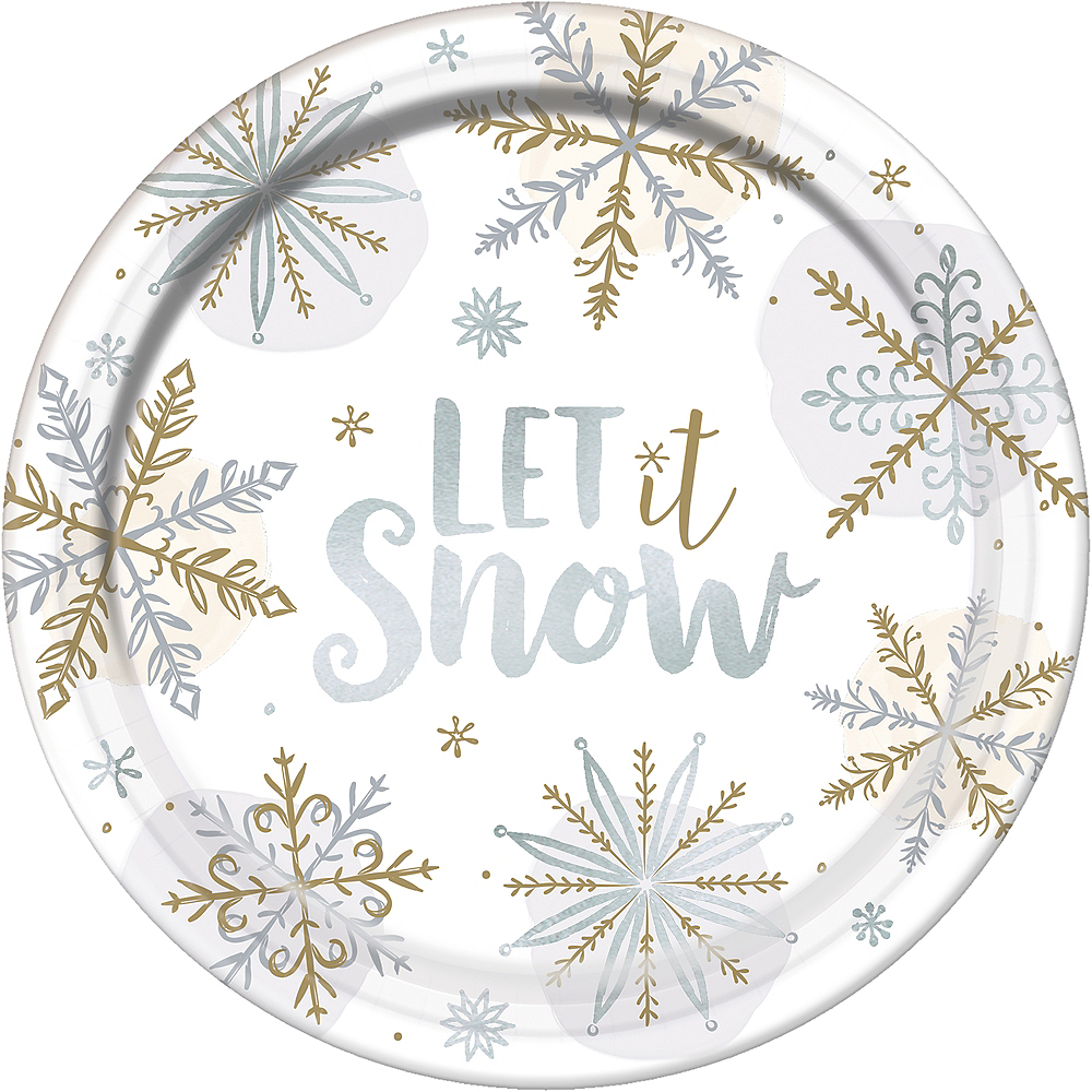Metallic Let It Snow Dinner Plates 8ct Image #1