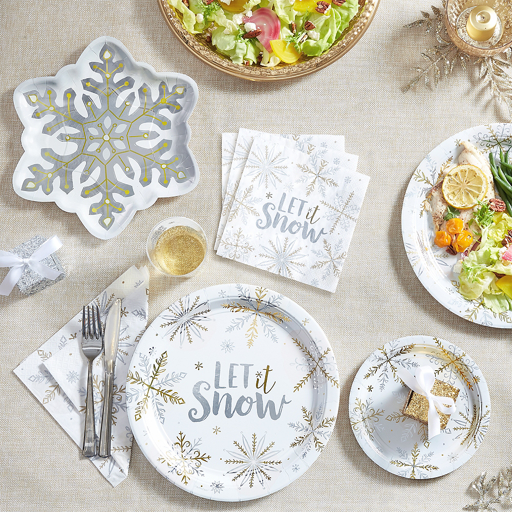 Metallic Let It Snow Dinner Plates 8ct Image #2