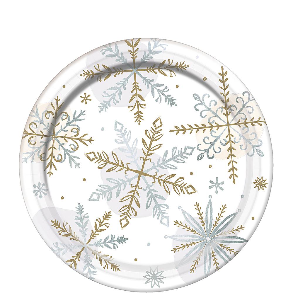 Metallic Sparkling Snowflake Dessert Plates 8ct Image #1