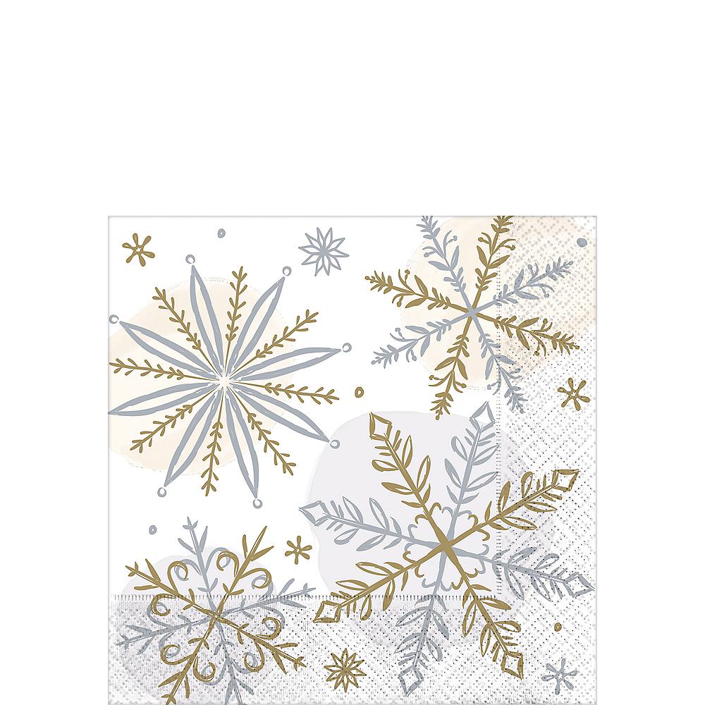 Sparkling Snowflake Beverage Napkins 16ct Image #1