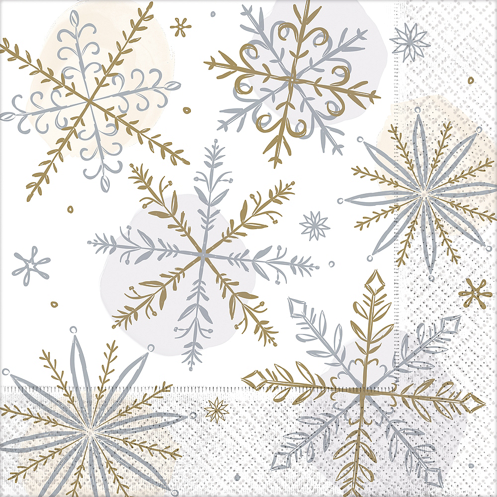 Sparkling Snowflake Dinner Napkins 16ct Image #1