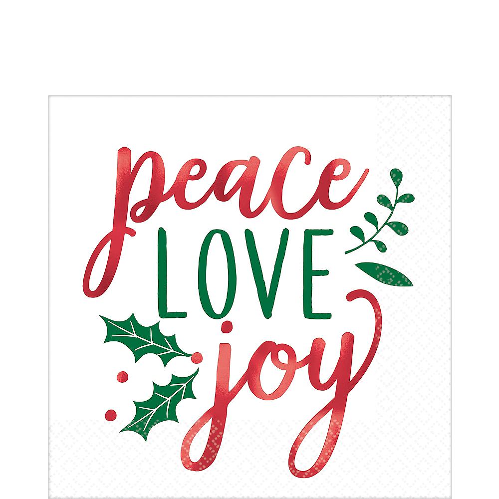 Metallic Peace Love Joy Lunch Napkins 16ct Image #1