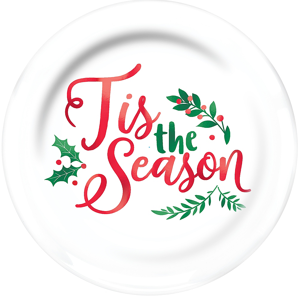 Christmas Holly Premium Plastic Dinner Plates 10ct Image #1