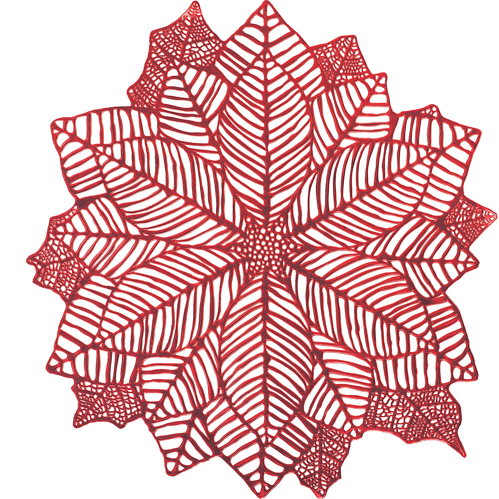 Metallic Red Poinsettia Vinyl Placemat Image #1