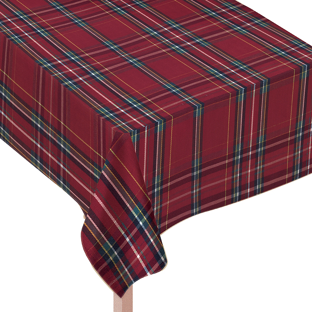 Metallic Red Plaid Fabric Tablecloth Image #1