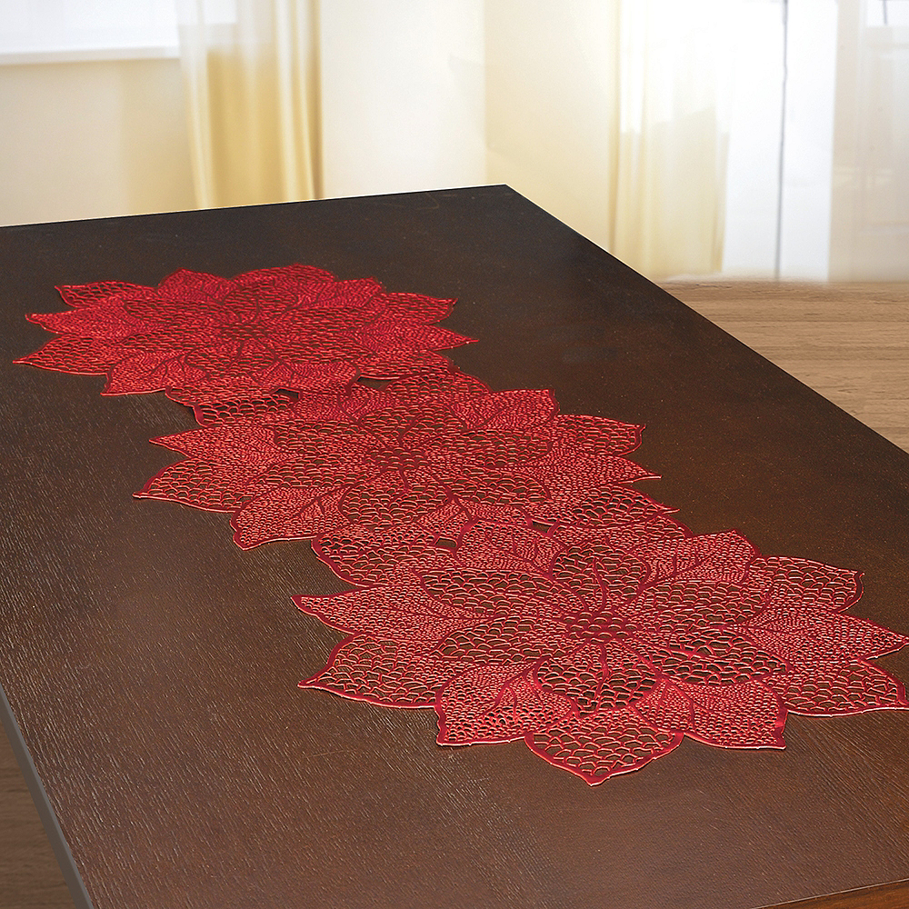Nav Item for Metallic Red Poinsettia Table Runner Image #1