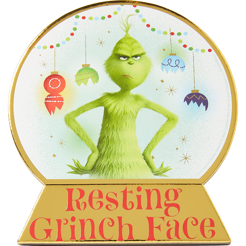 Mini Resting Grinch Face Standing Sign Image #1