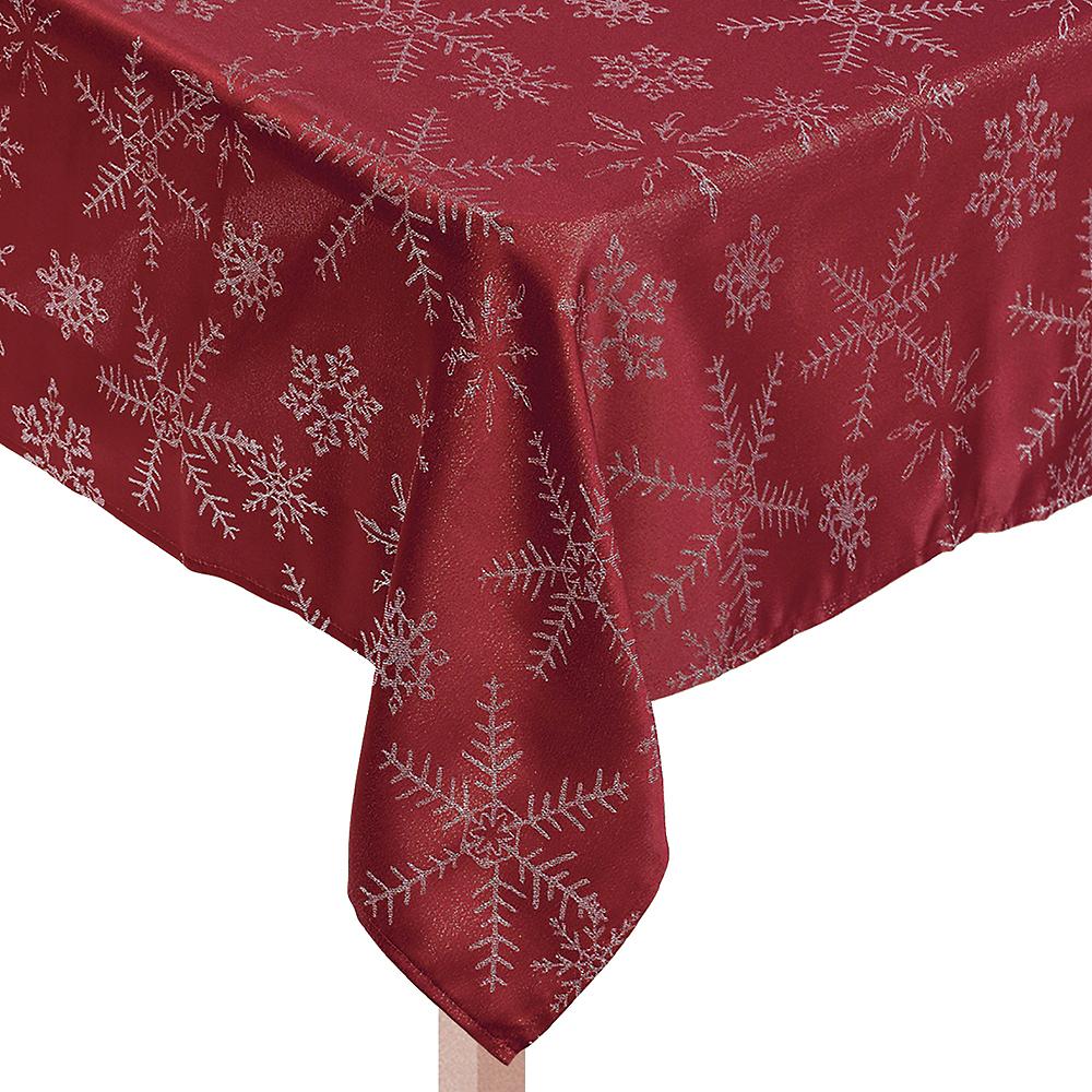 Metallic Red Snowflake Fabric Tablecloth Image #1