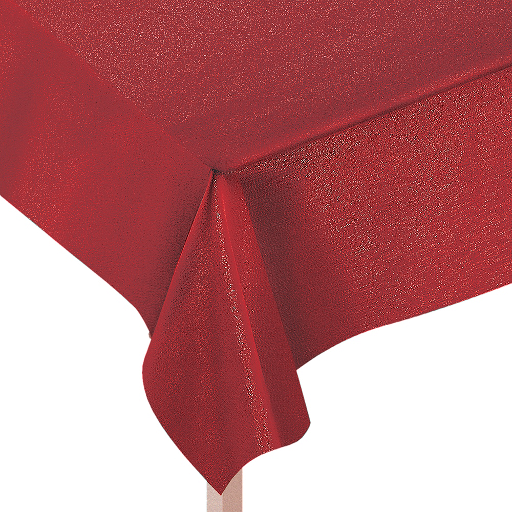 Metallic Red Fabric Tablecloth Image #1