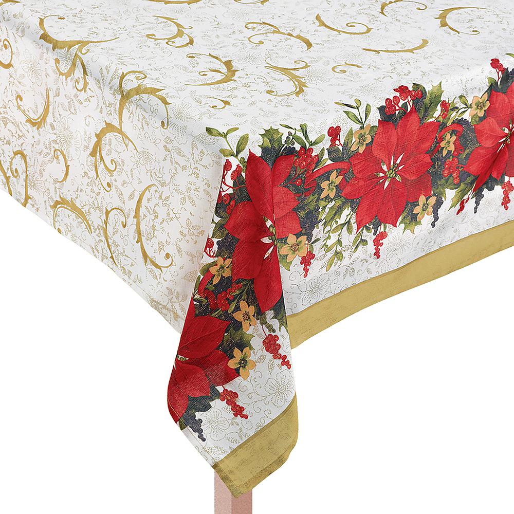Poinsettia Fabric Tablecloth Image #1
