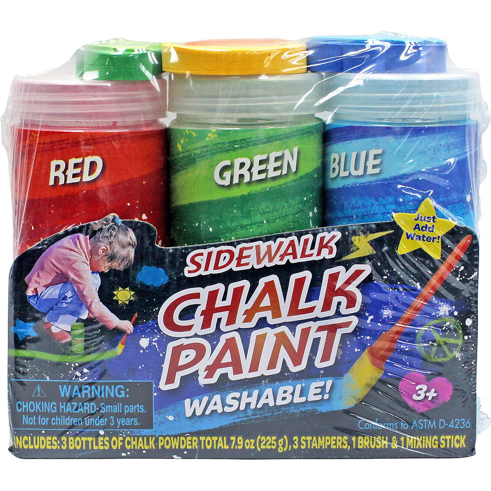 Blue, Green & Red Sidewalk Chalk Paint Set 8pc Image #2