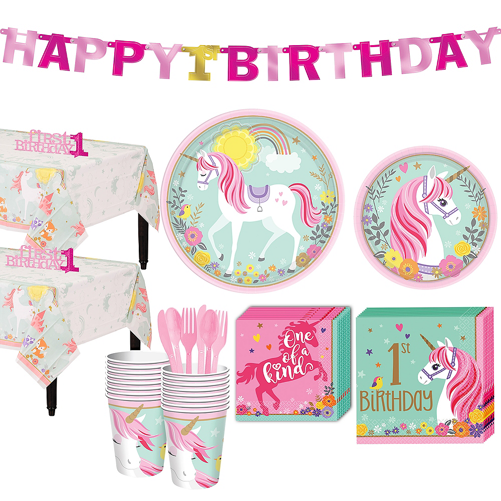 Magical Unicorn 1st Birthday Party Kit for 16 Guests Image #1