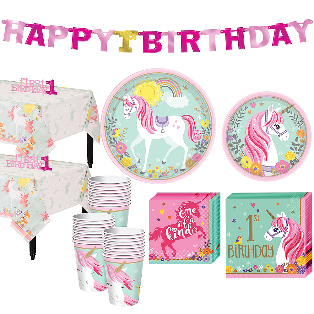 Magical Unicorn 1st Birthday Party Kit for 32 Guests Image #1