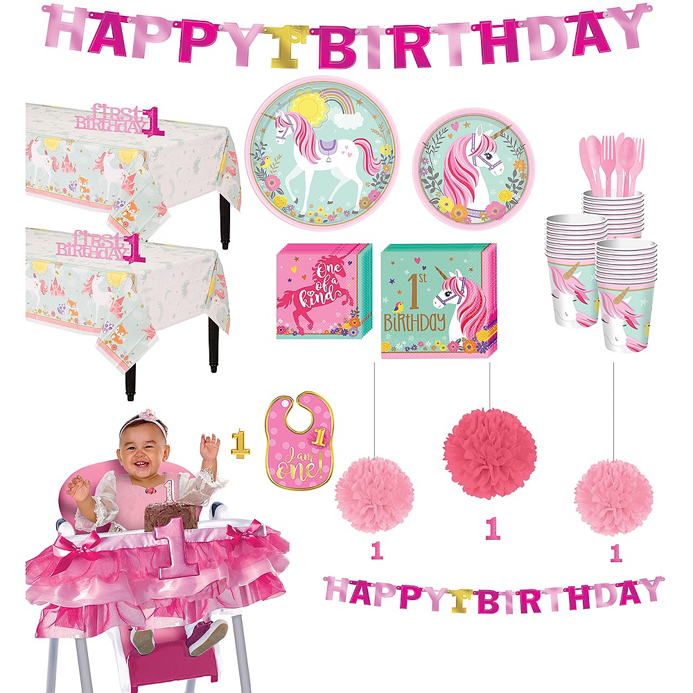 Magical Unicorn 1st Birthday Deluxe Party Kit for 32 Guests Image #1