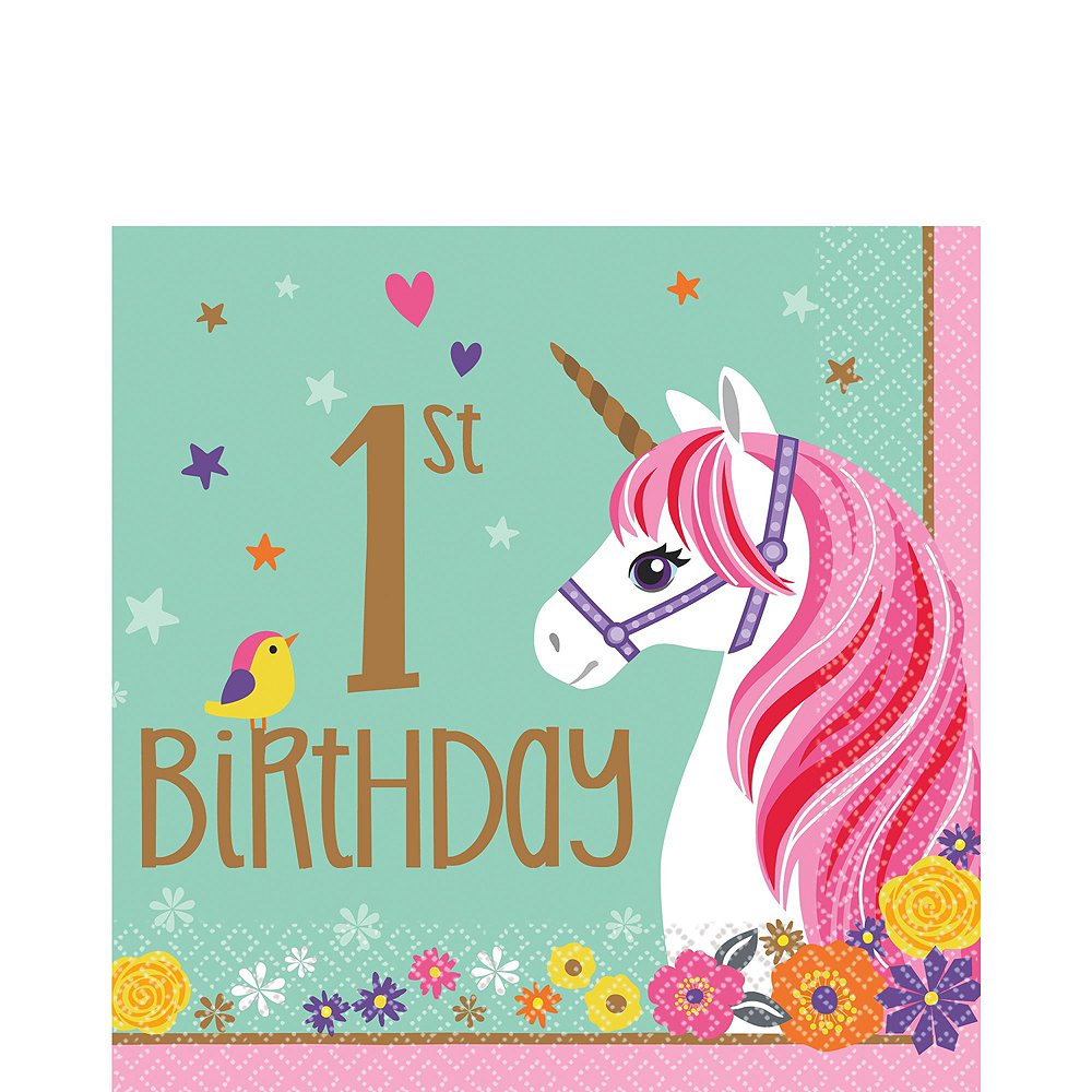 Magical Unicorn 1st Birthday Deluxe Party Kit for 32 Guests Image #5