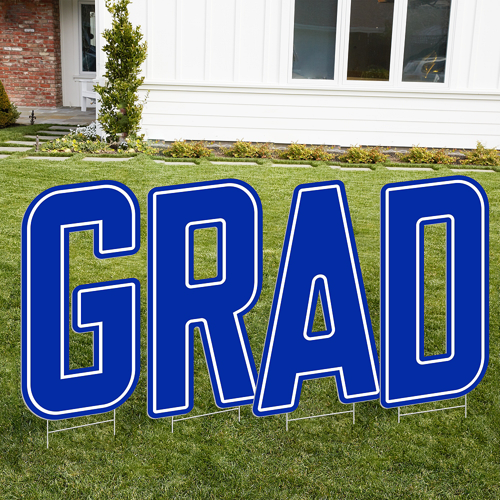 Royal Blue Grad Letter Outdoor Sign Kit Image #1