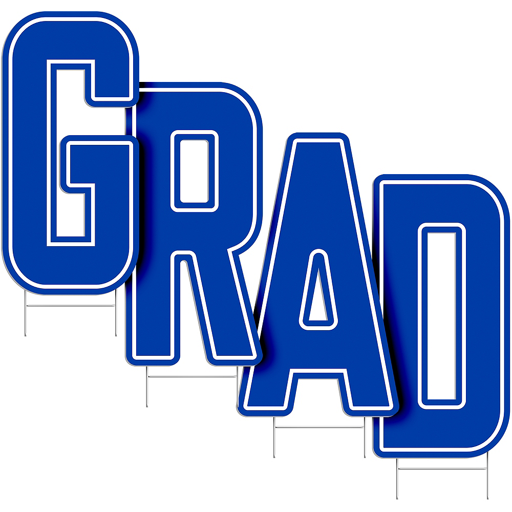 Royal Blue Grad Letter Outdoor Sign Kit Image #2
