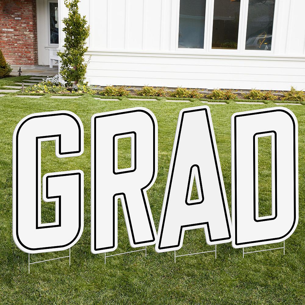 White Grad Letter Outdoor Sign Kit Image #1
