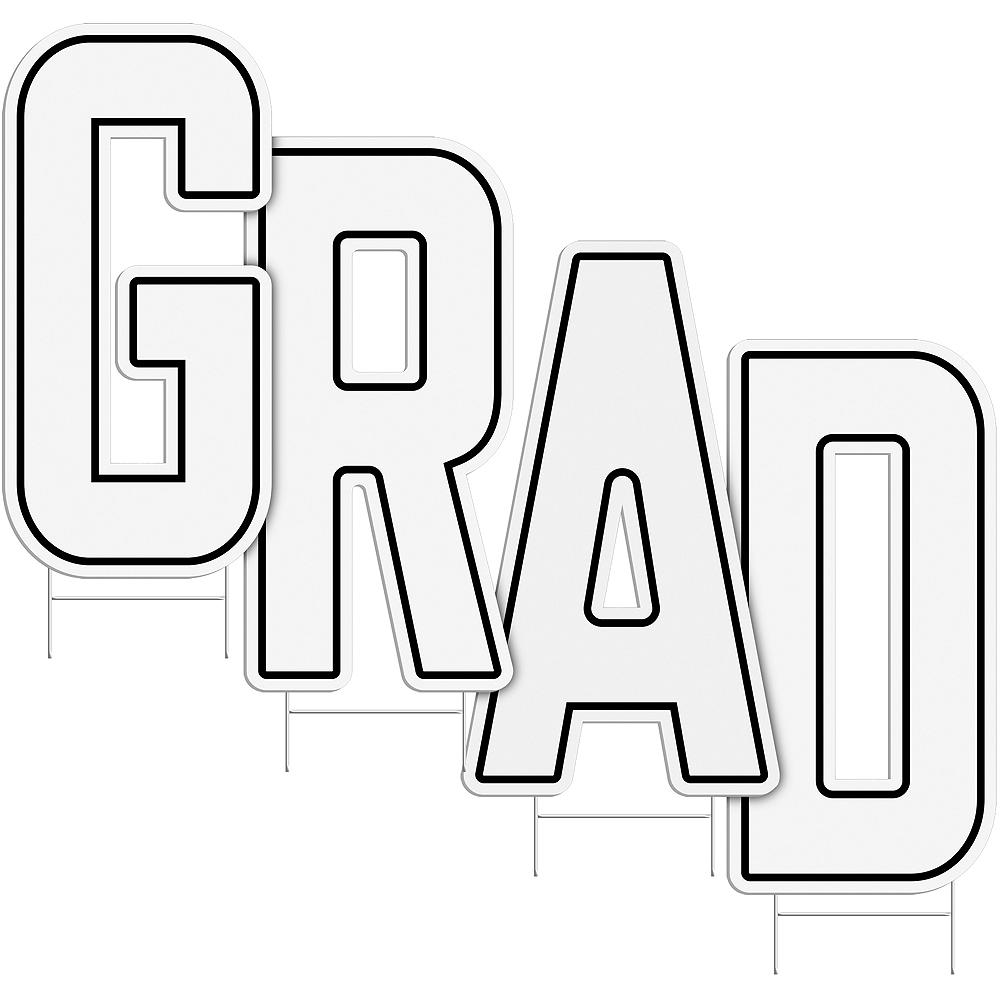 White Grad Letter Outdoor Sign Kit Image #2