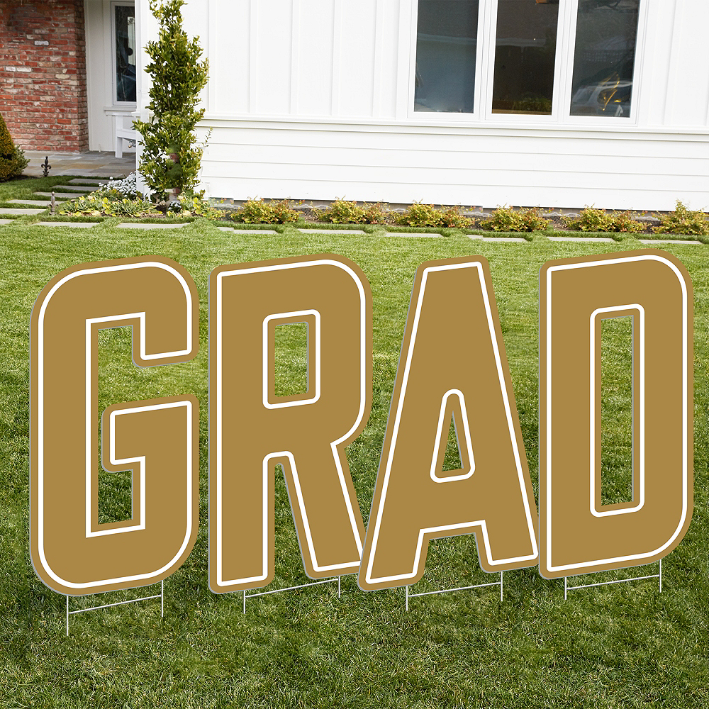 Gold Grad Letter Outdoor Sign Kit Image #1
