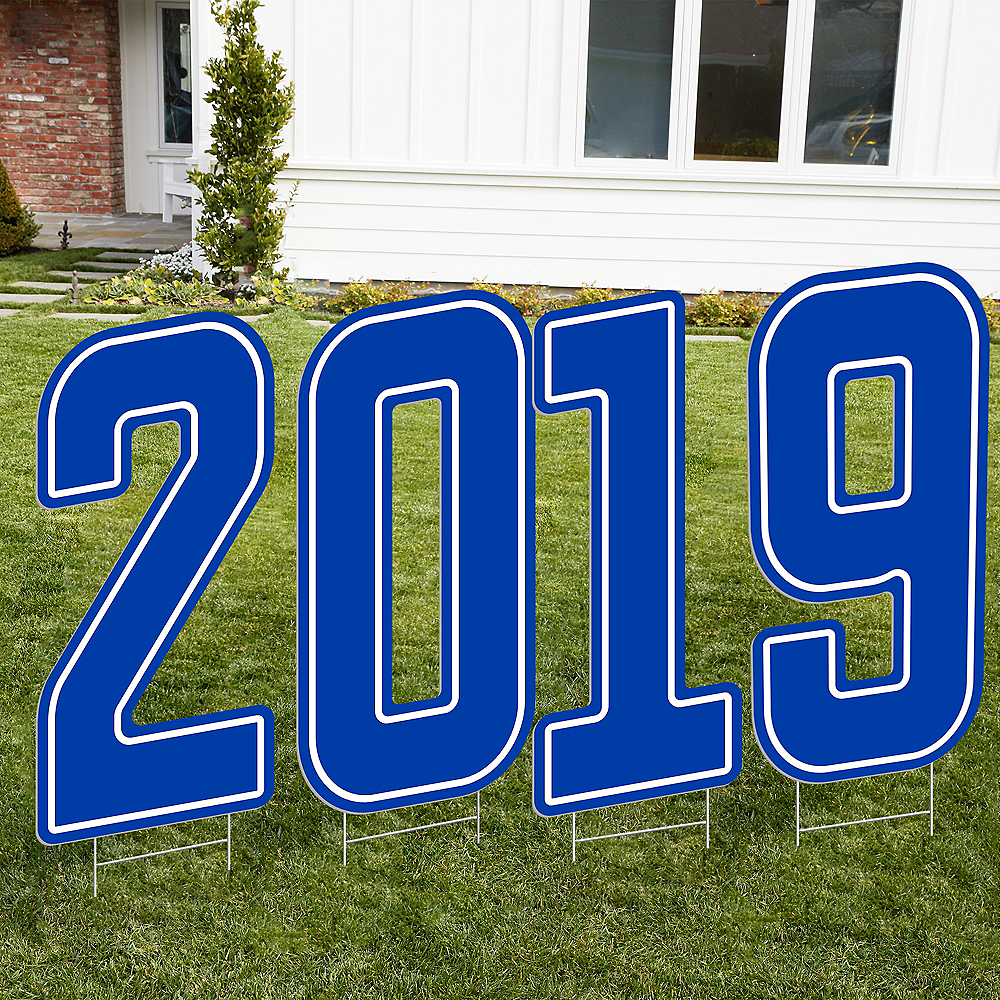 Giant Royal Blue 2019 Number Outdoor Sign Kit Image #1