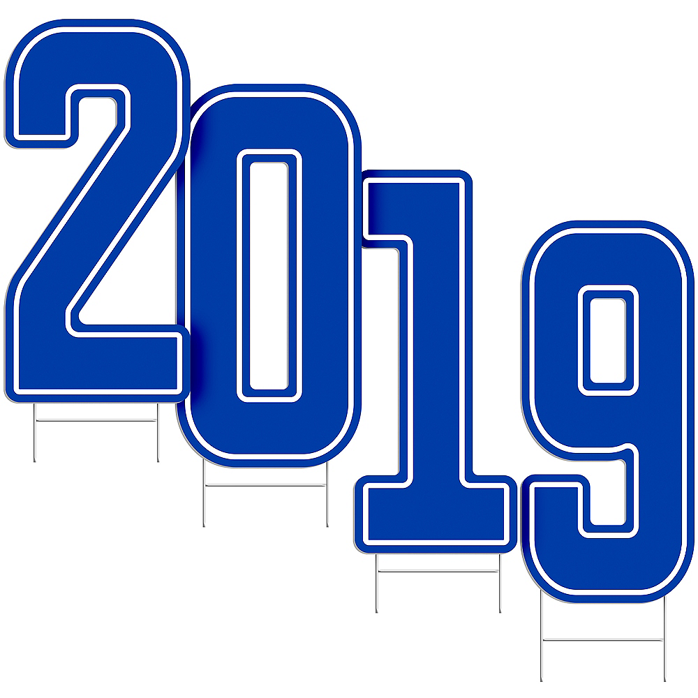 Giant Royal Blue 2019 Number Outdoor Sign Kit Image #2