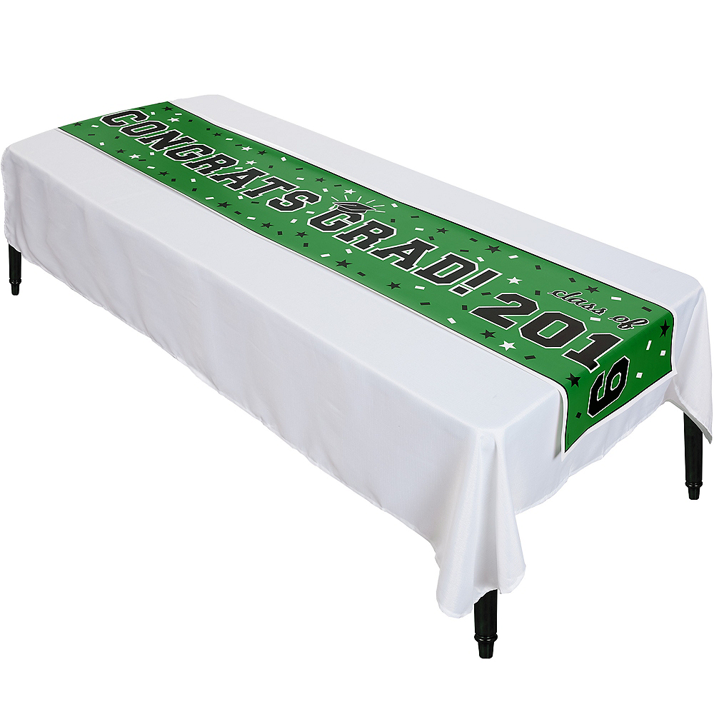 Green Graduation Vinyl Table Runner Image #1