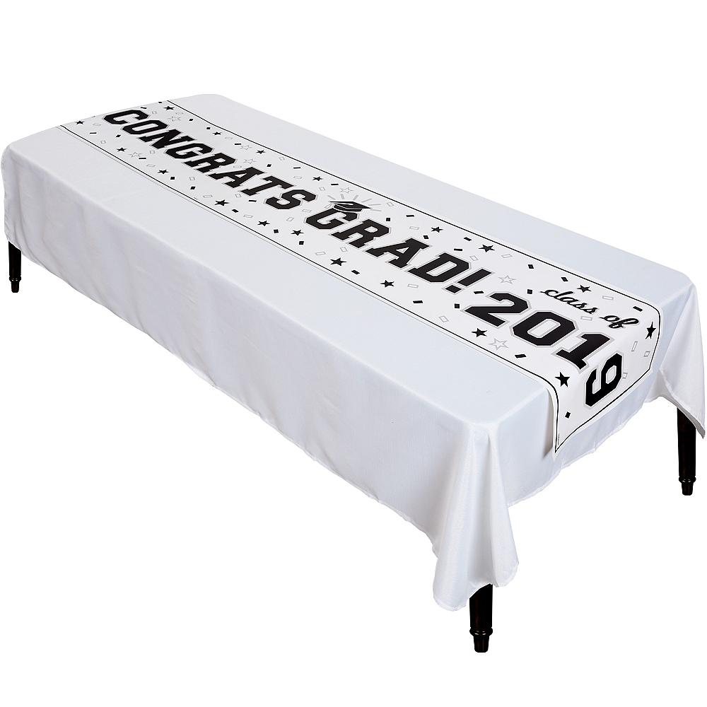 White Graduation Vinyl Table Runner Image #1