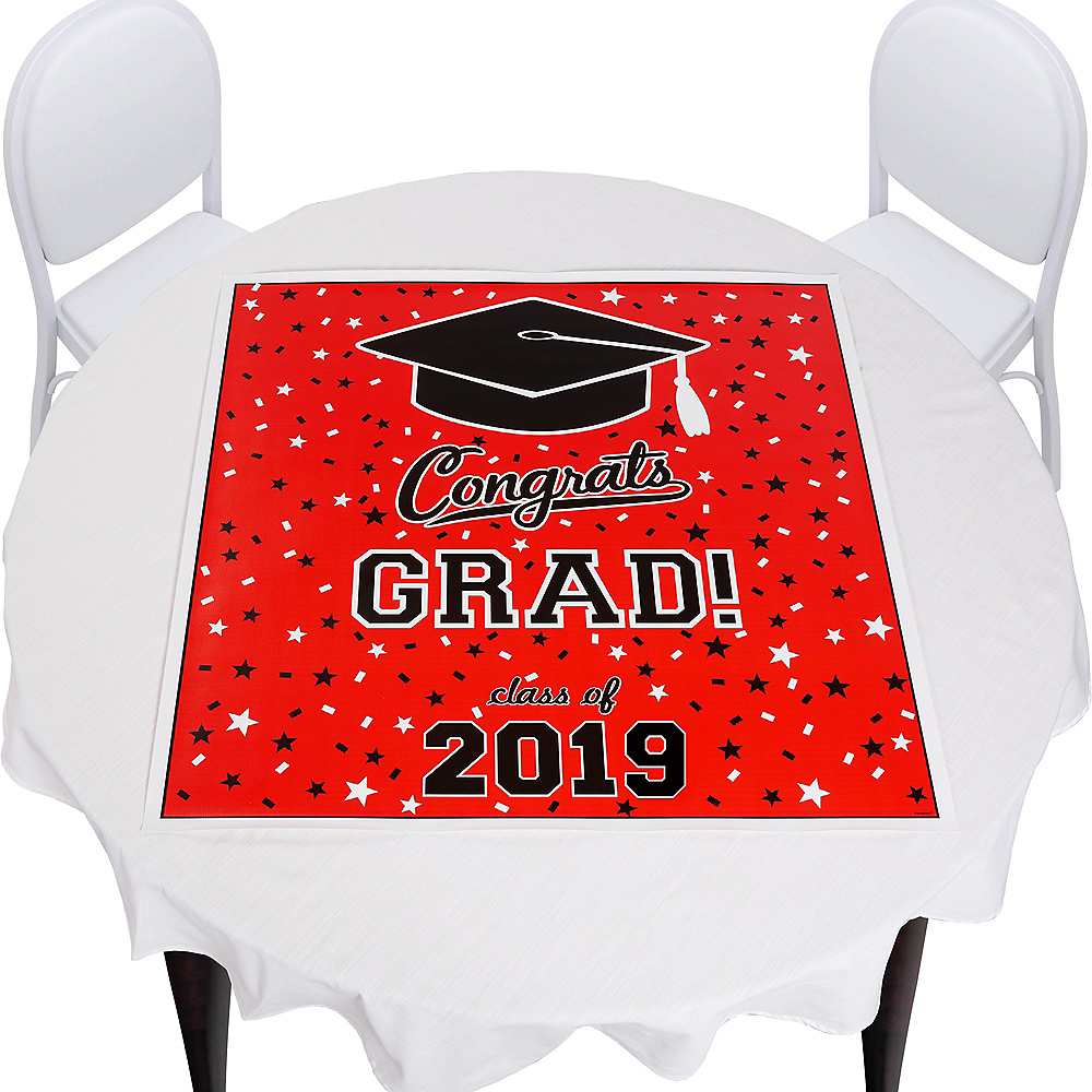 Red Graduation Square Vinyl Table Topper Image #1