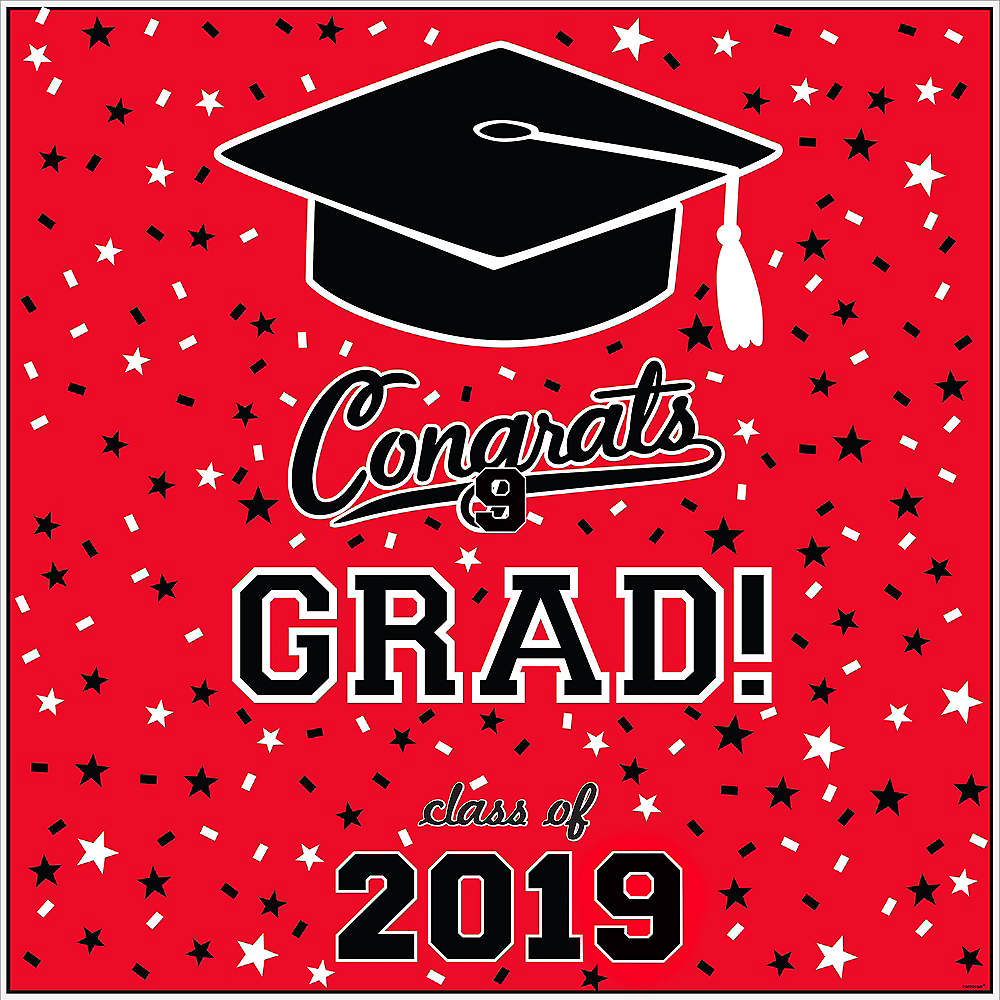 Red Graduation Square Vinyl Table Topper Image #2