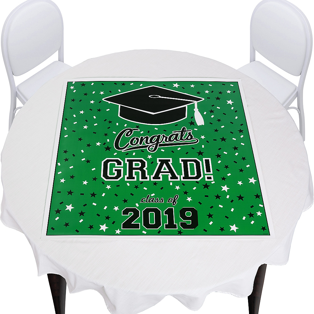 Green Graduation Square Vinyl Table Topper Image #1