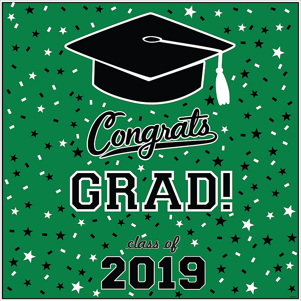 Green Graduation Square Vinyl Table Topper Image #2