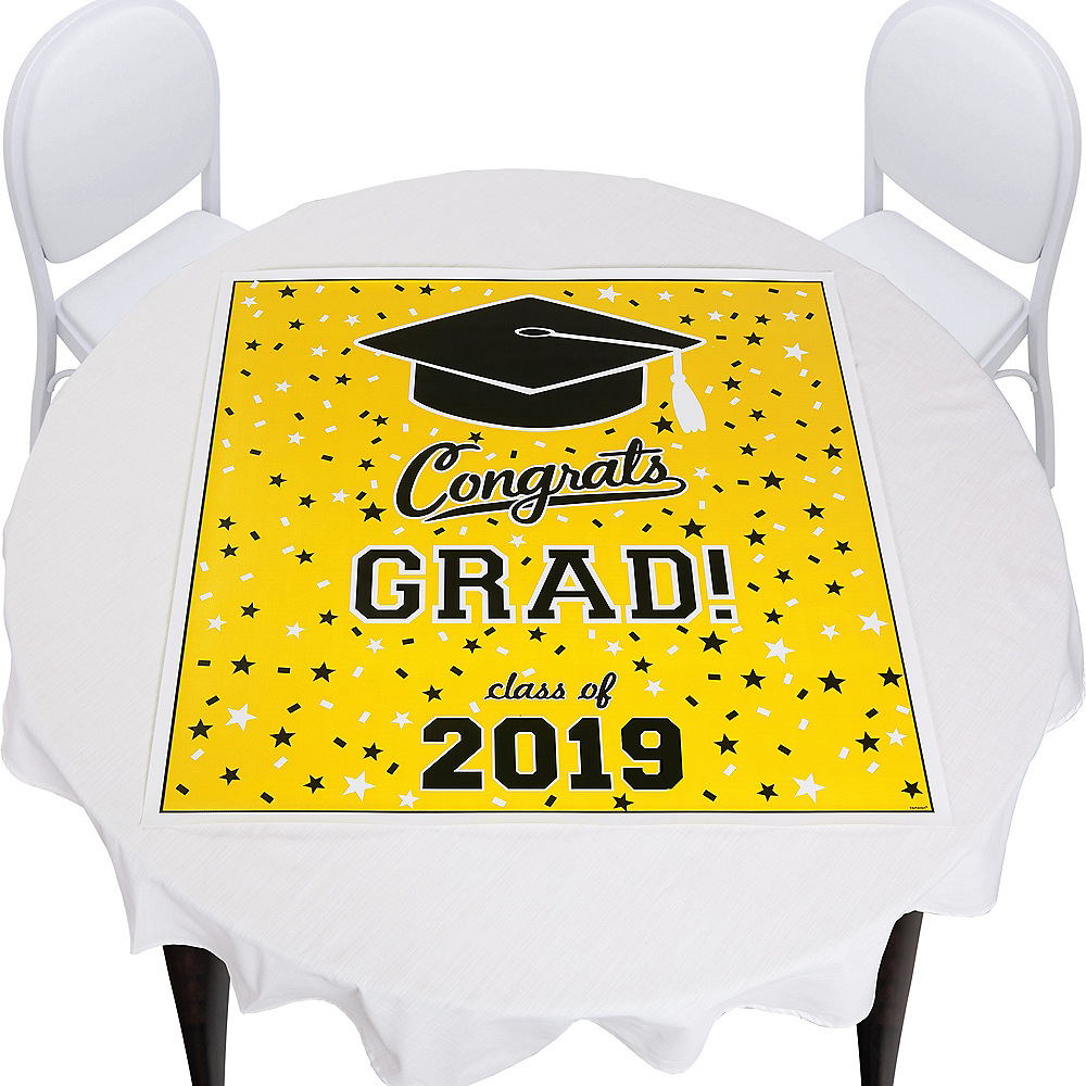 Yellow Graduation Square Vinyl Table Topper Image #1