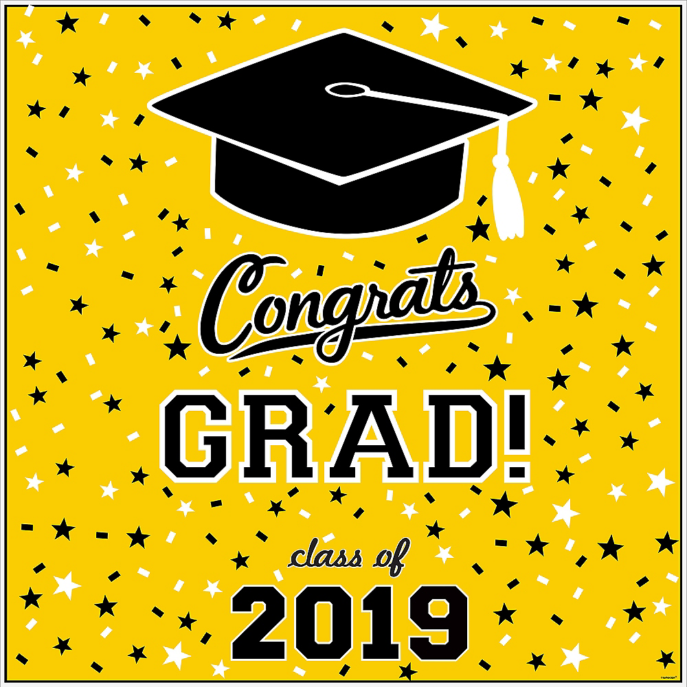 Yellow Graduation Square Vinyl Table Topper Image #2