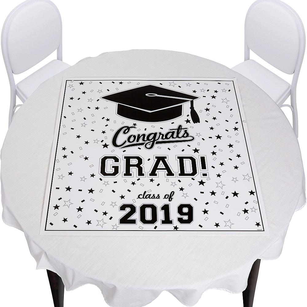 White Graduation Square Vinyl Table Topper Image #1