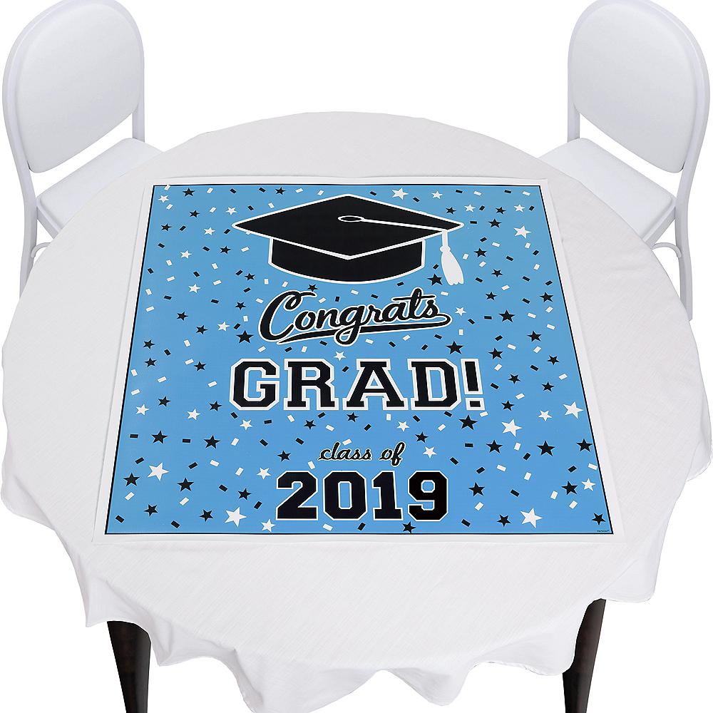 Pastel Blue Graduation Square Vinyl Table Topper Image #1