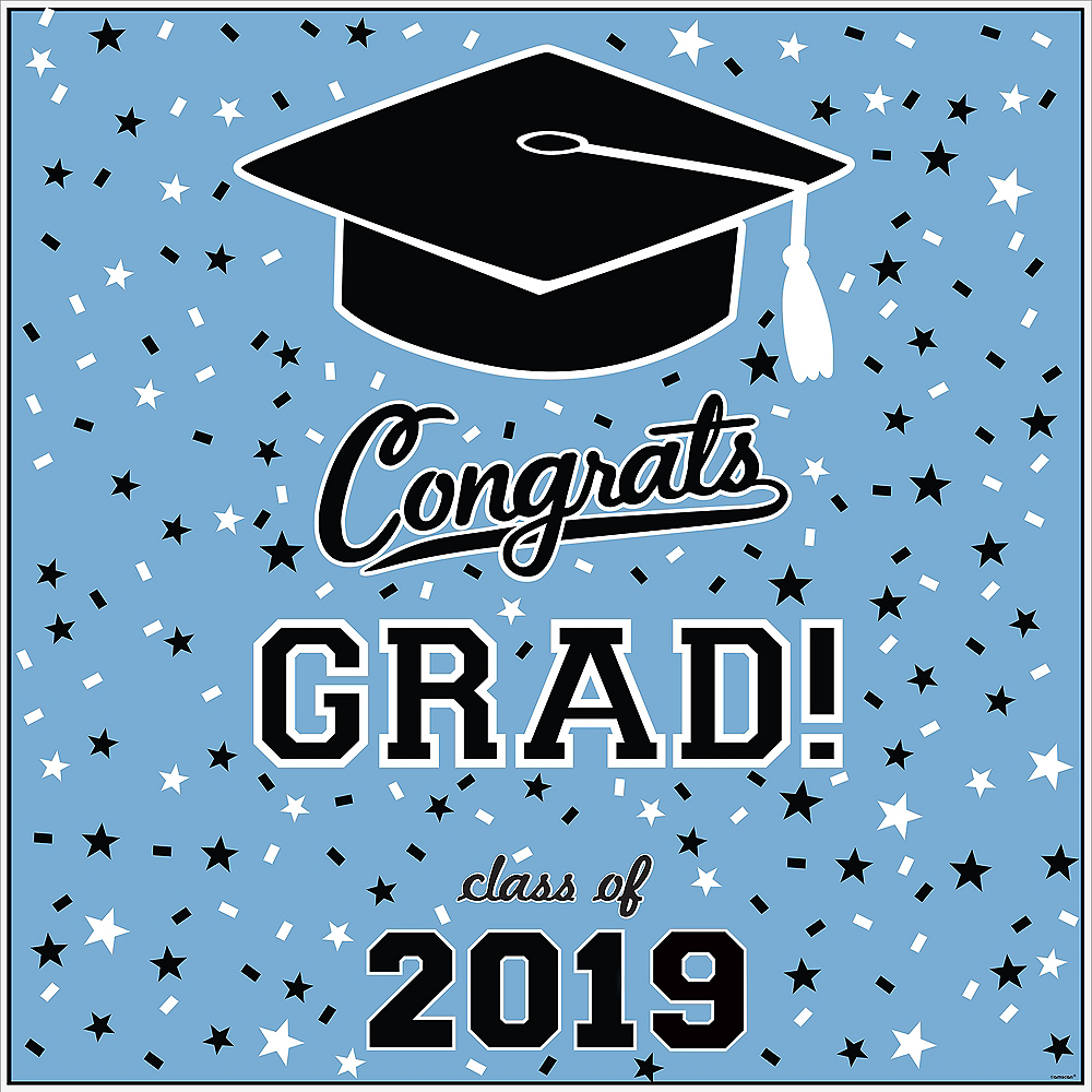 Pastel Blue Graduation Square Vinyl Table Topper Image #2