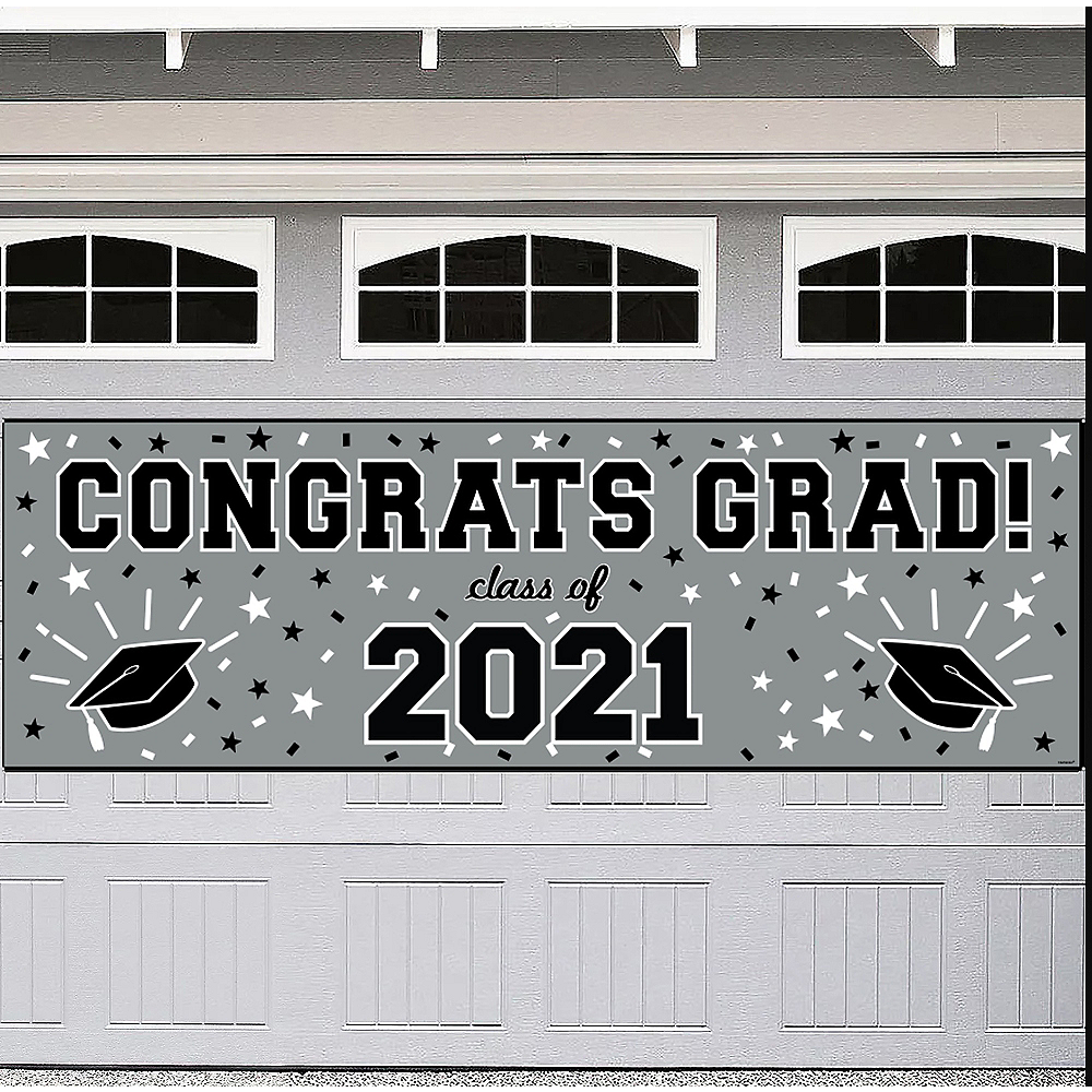 Silver Graduation Outdoor Banner Image #1