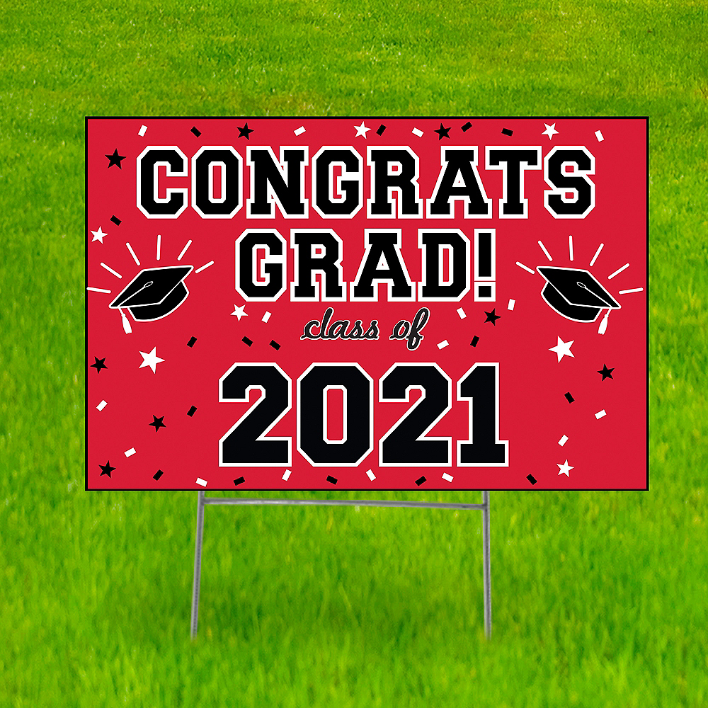 Red Graduation Yard Sign, 22in x 15in Image #1