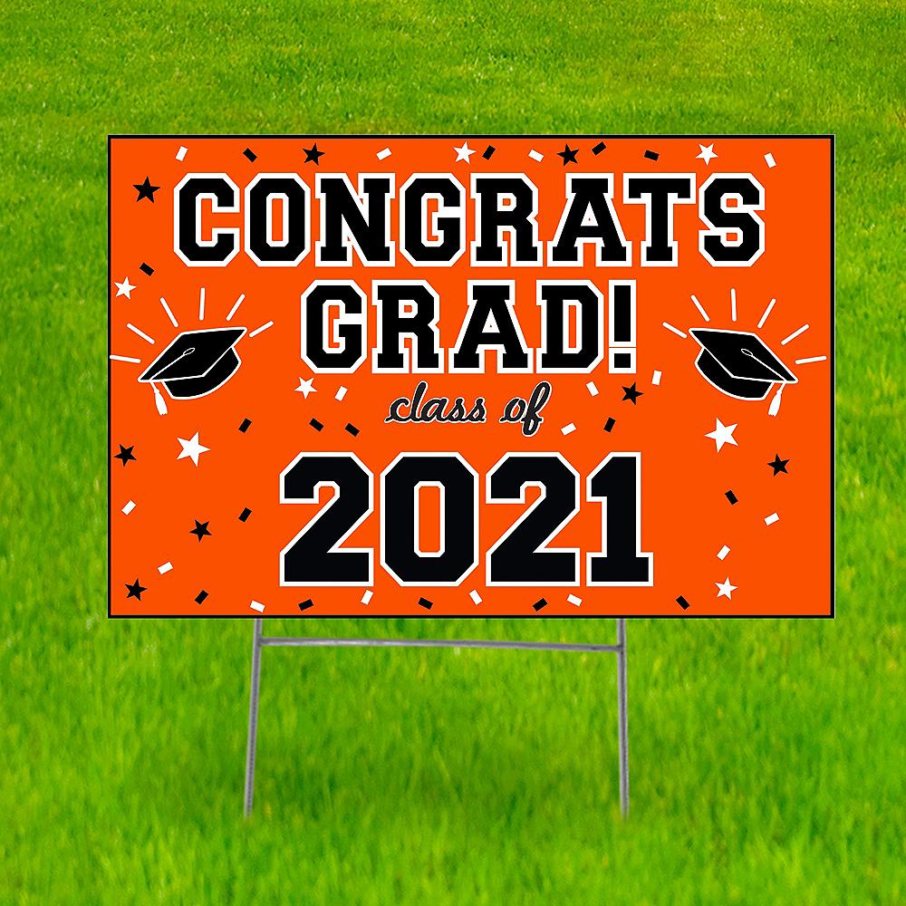 Orange Graduation Yard Sign Image #1