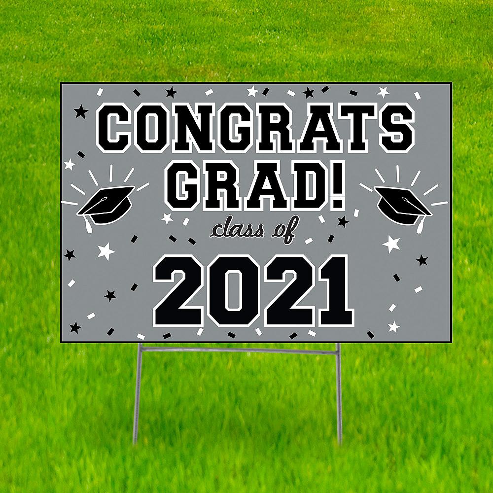 Silver Graduation Yard Sign Image #1