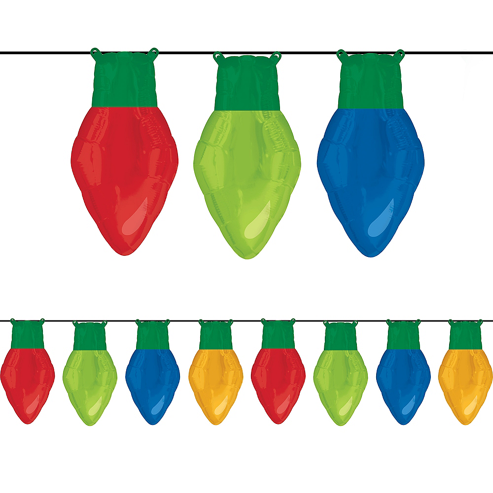 Air-Filled Christmas Light Balloons 8pc Image #1