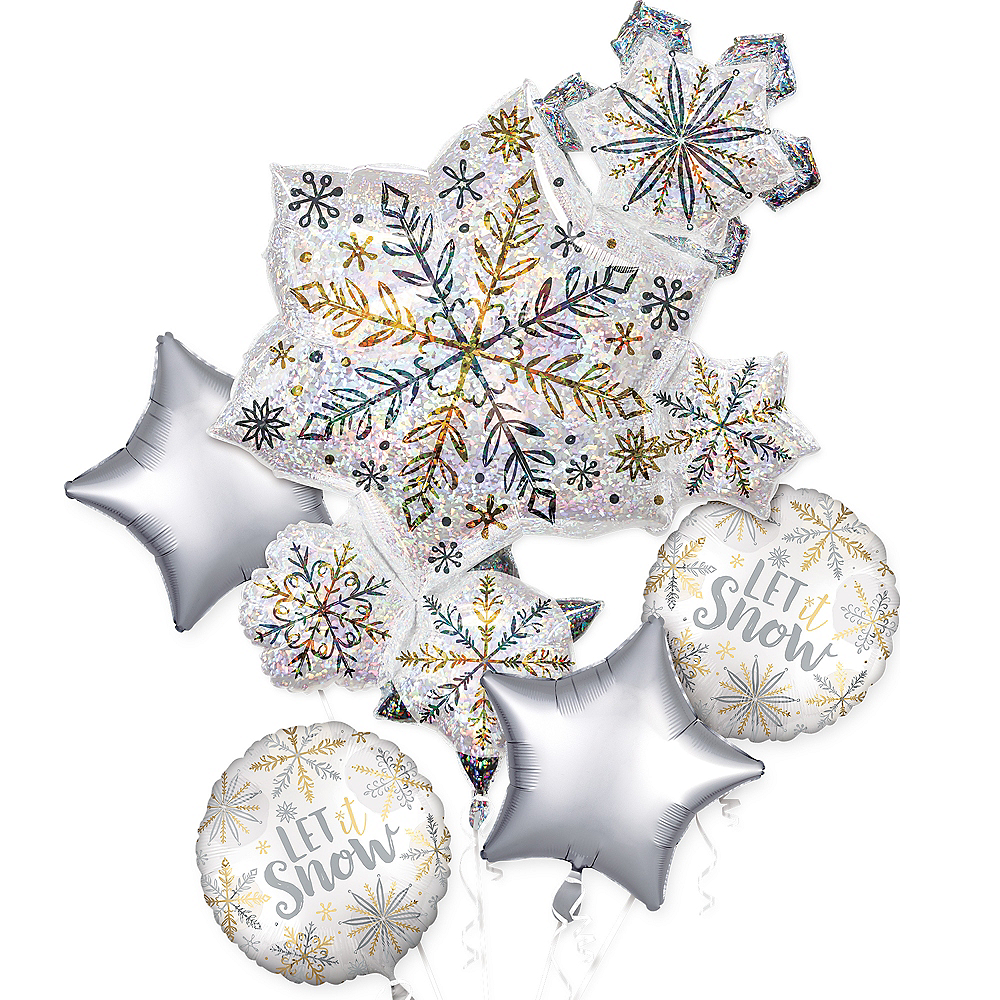 Iridescent Snowflake Balloon Bouquet 5pc Image #1