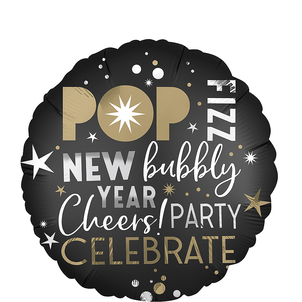 Black, Gold & Silver New Year's Eve Balloon Image #1