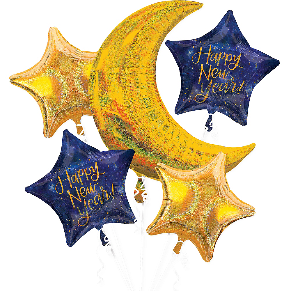 Midnight Happy New Year Balloon Bouquet 5pc Image #1