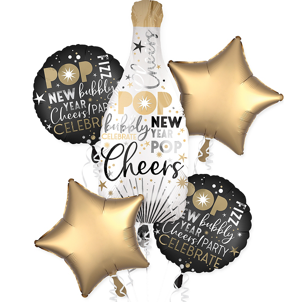 Champagne Bottle New Year's Eve Balloon Bouquet 5pc ...