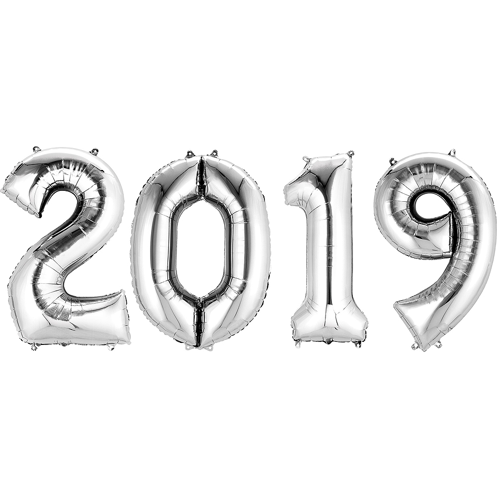34in Giant Silver 2019 Number Balloons 4pc Image #1